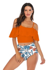Fashion Orange Pleated Ruffled Printed High-waist Split Swimsuit