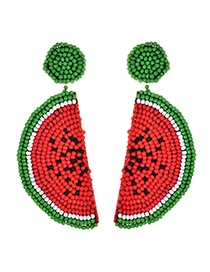 Fashion Red Alloy Non-woven Beads Watermelon Earrings