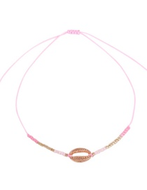 Fashion Pink Alloy Rope Rice Beads Shell Bracelet