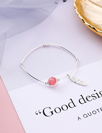 Fashion Red Strawberry Crystal Feather Bracelet
