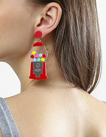 Fashion Red Capsule Machine Earrings