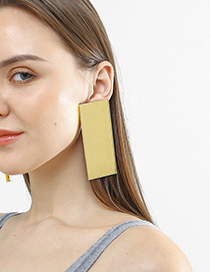 Fashion Gold Large Rectangular Earrings