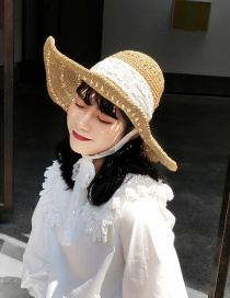 Fashion Beige Lace Straps Hollowed Out Straw Hat