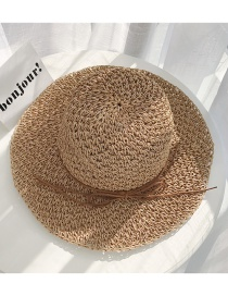 Fashion Khaki Straw Crocheted Visor
