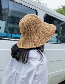 Fashion Khaki Foldable Vertical Bar With Straw Hat