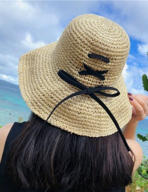 Fashion Beige Big Woven Woven Bow Sun Hat