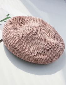 Fashion Pink Openwork Straw Beret