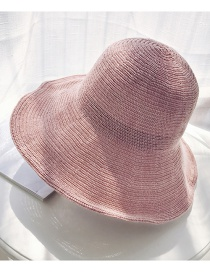 Fashion Pink Woven Big 檐 Dome Washed Straw Hat