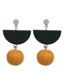 Fashion Green+yellow Geometric Shape Decorated Earrings