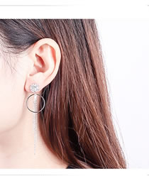 Fashion Silver Color Circular Ring Decorated Tassel Earrings