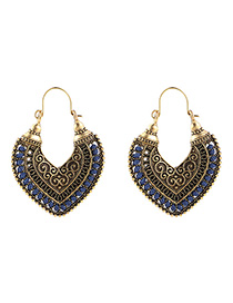 Fashion Navy+gold Color] Heart Shape Decorated Earrings