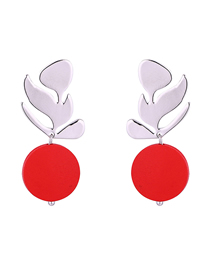 Simple Red Leaf Shape Decoraed Earrings