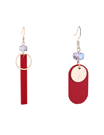 Simple Red Irregular Shape Decorated Earrings