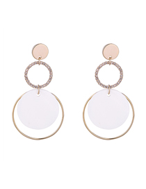 Simple Gold Color Round Shape Decorated Earrings