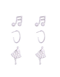 Fashion Silver Musical Dancing Girl S925 Silver Needle Set Earrings (platinum)