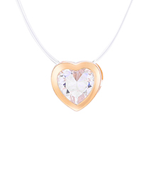 Fashion Gold Zircon Heart Necklace (gold)