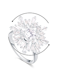 Fashion Platinum Plated Gold Snowflake Rotating Opening Ring