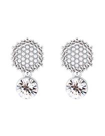 Fashion Platinum + White Hexagon Full Diamond Pearl Plated Gold S925 Silver Needle Stud Earrings