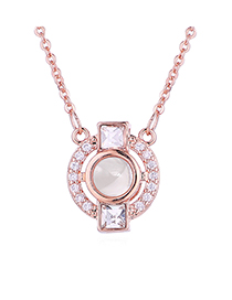 Fashion Rose Gold 100 Languages ??i Love You Beating Heart Crystal Necklace