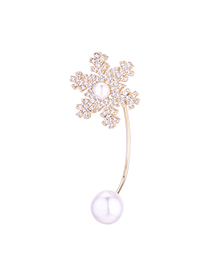 Fashion 14k Gold Plated Gold Zircon Pearl Snowflake Brooch