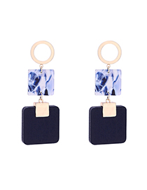 Fashion Navy Blue Square Plate Earrings