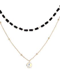 Fashion 14k Gold + Color White Crystal Necklace--aristocratic Queen