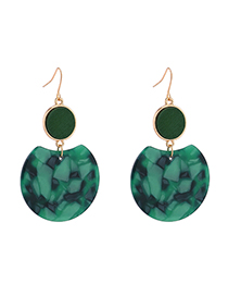 Fashion Green Plated Gold Round Earrings