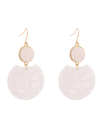 Fashion White Plated Gold Round Earrings