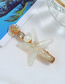 Fashion White Alloy Diamond-studded Pearl Starfish Hairpin