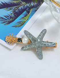 Fashion Gray Alloy Diamond-studded Pearl Starfish Hairpin