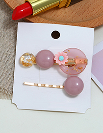 Fashion Pink Pearl Flower Alloy Hair Clip Two-piece