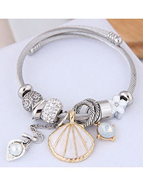 Fashion White Metal Shell Pendant Bracelet