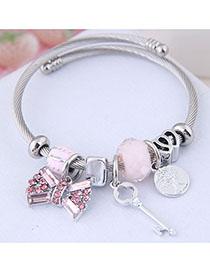 Fashion Pink Metal Flash Diamond Bow Key Bracelet