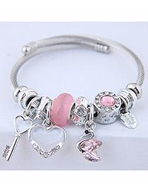 Fashion Pink Metal Key Love Swan Pendant Multi-element Bracelet