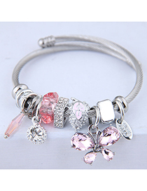 Fashion Pink Metal Butterfly Pendant Multi-element Bracelet
