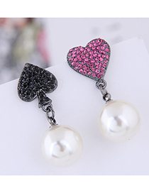 Fashion Black + Rose Red 925 Silver Needle Heart Pearl Asymmetric Stud Earrings