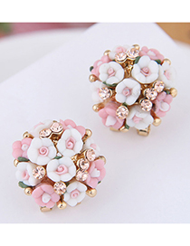 Fashion Pink + White Flash Diamond Ear Studs