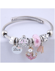 Fashion Pink Metal Anchor Bracelet