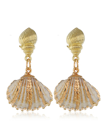 Fashion Gold Metal Shell Conch Earrings