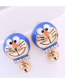 Fashion Blue Bell Cat Ear Stud