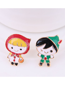 Fashion Color Boy Girl Asymmetric Earrings