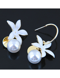 Fashion Gold 925 Silver Needle Flower Pearl Asymmetric Earrings