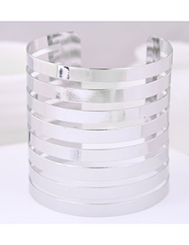 Fashion Silver Metal Super Wide Opening Bracelet