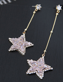Fashion Transparent Powder 925 Silver Five-pointed Star Asymmetric Earrings