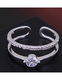 Fashion Silver Copper Inlaid Zircon Double-layer Open Ring