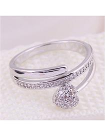 Fashion Silver Inlaid Zircon Love Ring