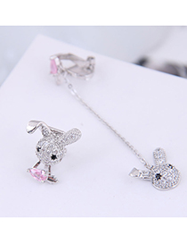 Fashion Silver Copper Micro-inlaid Zircon Bunny Asymmetric Ear Clip