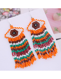 Fashion Orange Mizhu Eyebrow Tassel Earrings