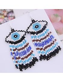 Fashion Black Mizhu Eyebrow Tassel Earrings