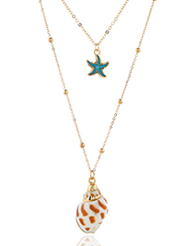 Fashion Gold Metal Conch Double Necklace
